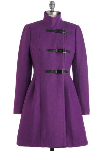 Plenty by Tracy Reese Plum Becomes You Coat by Plenty by Tracy Reese - Long, Purple, Black, Solid, Buckles, Long Sleeve, 4, Party, Casual, Vintage Inspired, Winter, Steampunk