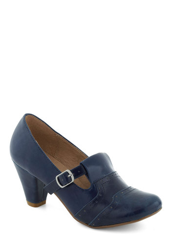 Class Treasurer Heel in Blue by Chelsea Crew - Blue, Mid, 30s, Buckles, Variation, Winter