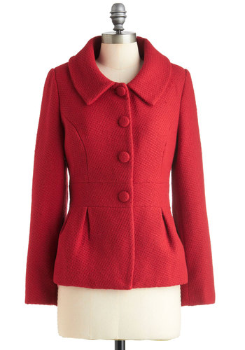 Laud Squad Jacket - Mid-length, Red, Solid, Buttons, Long Sleeve, 2, Fall, Scholastic/Collegiate