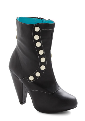 Oh How Happy Boot - Black, White, Buttons, Platform, Vintage Inspired, French / Victorian, Faux Leather, High, Steampunk