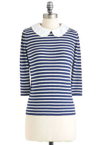 Charmer on Campus Top in Blue - Blue, White, Stripes, Peter Pan Collar, Mid-length, Cotton, Fall, Blue, 3/4 Sleeve