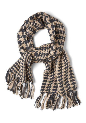 London Longing Scarf - Houndstooth, Winter, Tan / Cream, Grey, Fringed, Casual