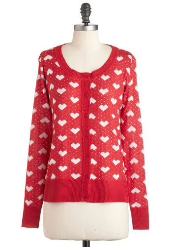Forever Enamored Cardigan - Mid-length, Red, White, Buttons, Long Sleeve, Print, Casual, Fall, Button Down