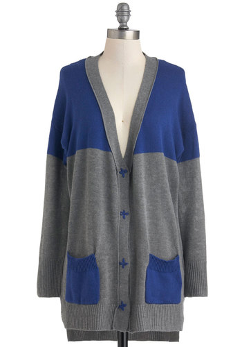 Craft Room Cozy Cardigan - Grey, Long Sleeve, Blue, Knitted, Pockets, Casual, Fall, Sheer, Button Down, Colorblocking, V Neck