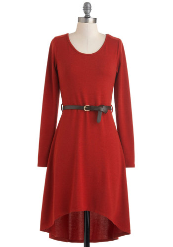 Rusted Route Dress - Short, Red, Solid, Belted, Casual, High-Low Hem, Long Sleeve, Scoop, Winter, Fall