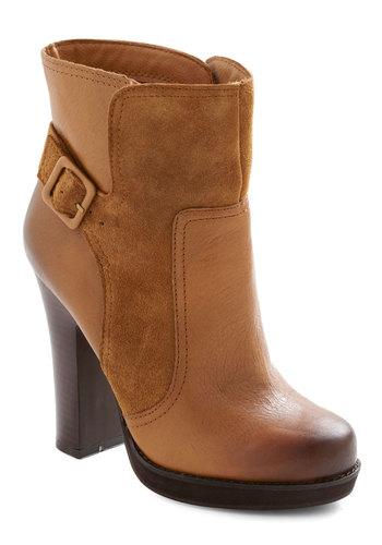 Deliver the Goodness Boot - Solid, Buckles, High, Platform, Chunky heel, Brown, Casual, Fall, Leather, Suede