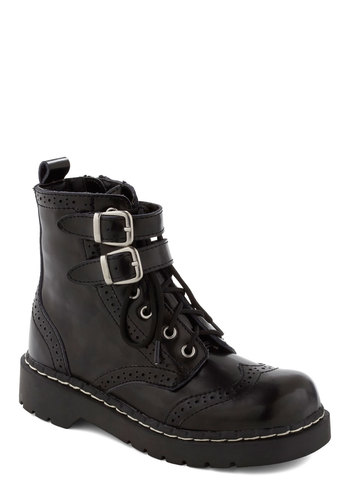 Tour the One Boot - Black, Buckles, Military, Menswear Inspired, 90s, Lace Up, Leather, Platform, Low
