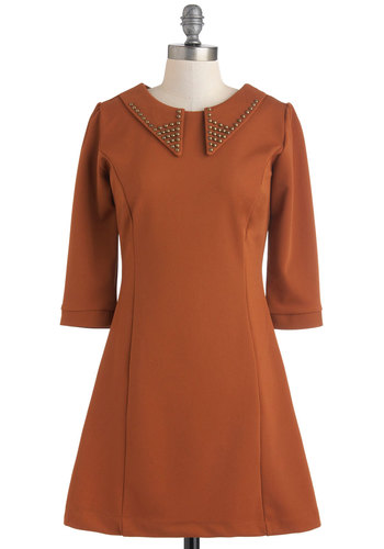 Ten Times Out of Tenne Dress - Brown, Solid, Studs, Sheath / Shift, 3/4 Sleeve, Fall, Short, Exposed zipper, Collared, Mod
