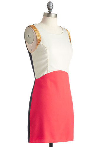 Two Sides of the Story Dress - Black, Beads, Cutout, Trim, Sleeveless, Short, Pink, Party, Shift, Bodycon / Bandage, Colorblocking, Tan / Cream