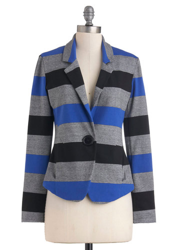Intern of the Century Blazer - Blue, Black, Grey, Stripes, Buttons, Long Sleeve, Cotton, 1, Mid-length