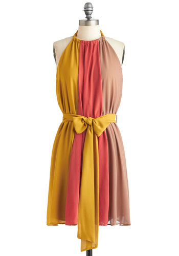 A Much Needed Triple Dress - Yellow, Vintage Inspired, Sleeveless, Mid-length, Multi, Pink, Brown, Belted, Party, Tent / Trapeze, Coral, Colorblocking