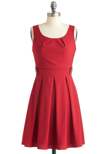Coral Time's Sake Dress - Red, Red, Solid, Buttons, Pleats, Casual, Vintage Inspired, A-line, Sleeveless, Mid-length, Coral, Fit & Flare