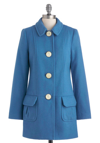 Historical Tour Coat - Blue, White, Solid, Buttons, Pockets, Long Sleeve, Long, 4