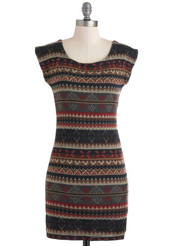 Ski Lodge Lovely Dress - Short, Multi, Red, Brown, Black, Grey, Print, Casual, Rustic, Bodycon / Bandage, Cap Sleeves, Fall, Sweater Dress