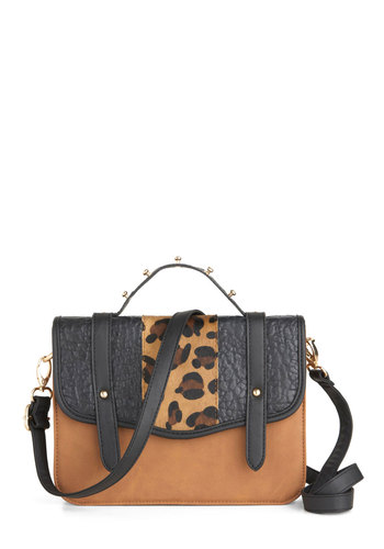 A Bit of Adventure Bag - Brown, Black, Animal Print, Studs, Party, Casual, Statement, Urban