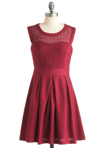 A Berry Important Date Dress - Mid-length, Red, Crochet, Pleats, Party, A-line, Sleeveless, Solid, Fit & Flare