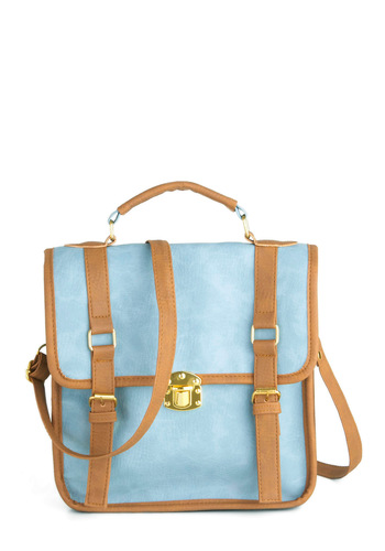 Wishful Thinking Bag - Blue, Tan / Cream, Solid, Trim, Buckles, Casual, Faux Leather