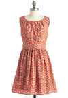 Take a Half Daisy Dress - Orange, White, Print, Casual, Vintage Inspired, A-line, Sleeveless, Mid-length, Floral, Fit & Flare