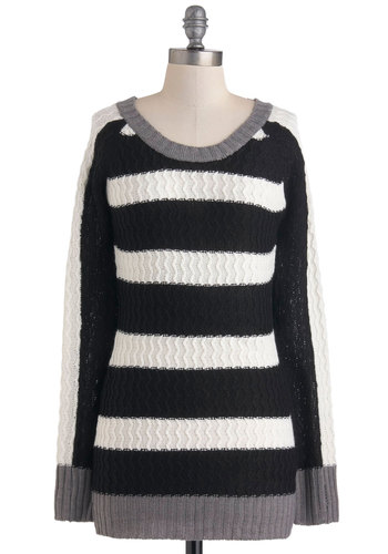Parallel Lives Sweater - Multi, Black, Grey, White, Stripes, Knitted, Casual, Long Sleeve, Long, Fall