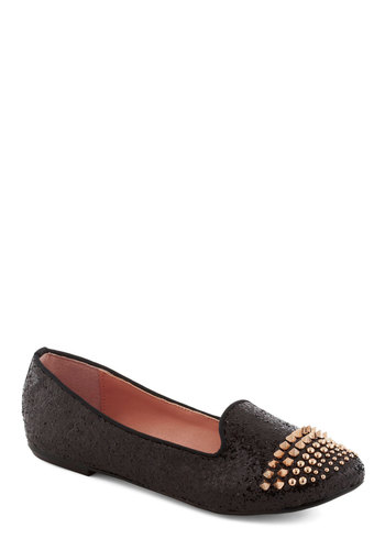 Betsey Johnson Stud Fast Flat by Betsey Johnson - Black, Gold, Solid, Studs, Glitter, Flat, Party, Statement, Urban