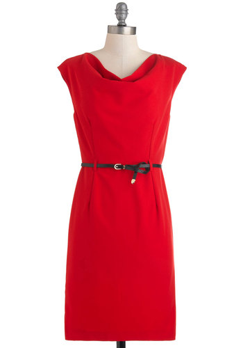 Red by Example Dress - Red, Solid, Work, Sheath / Shift, Sleeveless, Belted, Mid-length, Cowl
