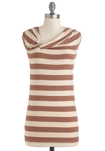 Twist Cone Top - Brown, Tan / Cream, Stripes, Casual, Cap Sleeves, Jersey, Work, Nautical, Mid-length