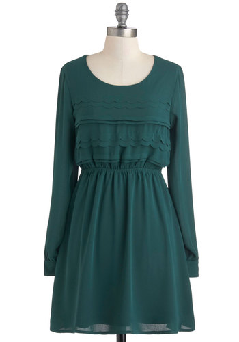 Forest in Her Class Dress - Green, Solid, Scallops, Casual, Long Sleeve, Fall, Short, A-line