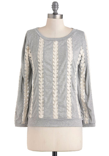 A Grand Day Off Top - Grey, Tan / Cream, Lace, Casual, Long Sleeve, Sheer, Mid-length