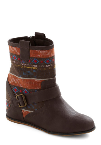 Head to Your Taos Boot by 80%20 - Brown, Multi, Print, Buckles, Wedge, Embroidery, Casual, Fall, Faux Leather, Mid, Holiday Sale