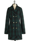 Back to Cool Coat by Tulle Clothing - Green, Black, Plaid, Buttons, Pockets, Long Sleeve, 3, Casual, Fall, Long, Scholastic/Collegiate, Double Breasted