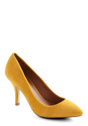 Strut Your Day Right Heel - Yellow, Solid, Mid, Party, Work, Vintage Inspired, 80s, Leather, Suede