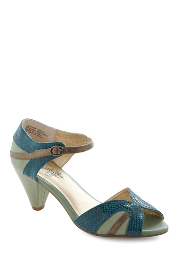 At First Sight Heel in Teal by Seychelles - Mid, Peep Toe, Green, Bronze, Animal Print, Party, Leather