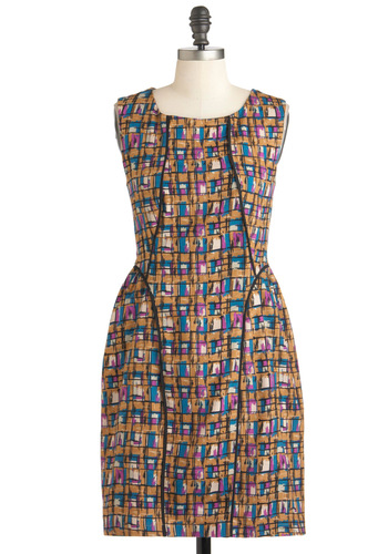 Pigments of My Imagination Dress by Darling - Mid-length, Cotton, Tan, Blue, Purple, White, Print, Casual, Shift, Sleeveless, Work, Scholastic/Collegiate