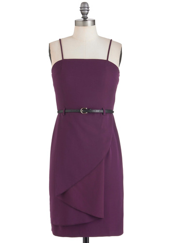 Strike a Concord Dress - Purple, Solid, Spaghetti Straps, Belted, Mid-length, Cocktail, Shift