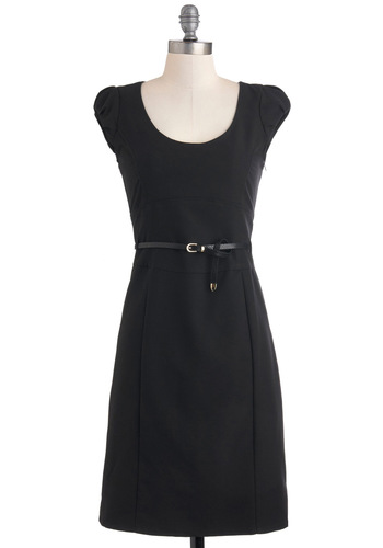 Oh My Posh Dress in Black - Black, Solid, Work, Sheath / Shift, Belted, Mid-length, Cap Sleeves
