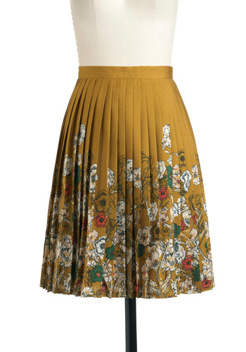 Planted in Style Skirt by Darling - Mid-length, Yellow, Red, Green, Floral, Pleats, Multi, White, Work, A-line, Daytime Party