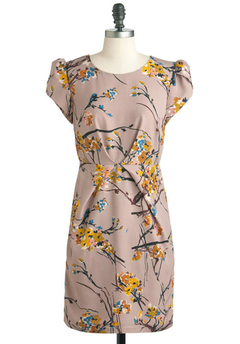 Walk Me Home Dress by Darling - Mid-length, Tan, Yellow, Blue, Grey, Floral, Work, Shift, Short Sleeves, Party