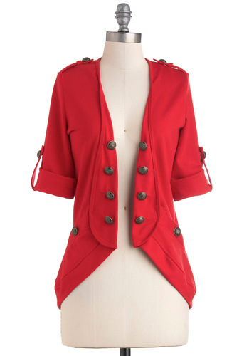 Keep It In Line Cardigan in Red - Solid, Buttons, Casual, 3/4 Sleeve, Jersey, Red, Mid-length, Steampunk