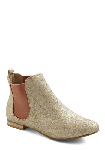Golden Gait Bootie - Gold, Glitter, Flat, Party, Casual, Urban, Tis the Season Sale