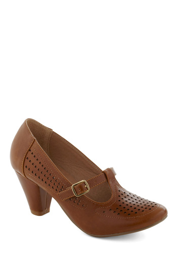 Back to Square Fun Heel in Sienna by Chelsea Crew - Mid, Leather, Faux Leather, Tan, Work, Casual, Vintage Inspired, Fall, Variation