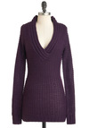 Hold Me Close-Knit Sweater in Aubergine - Purple, Solid, Knitted, Casual, Long Sleeve, Long, Fall, Winter, V Neck