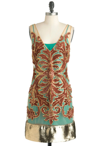 Tracy Reese Art Deco-dence Dress by Tracy Reese - Mid-length, Copper, Green, Gold, Sequins, Trim, Party, Sheath / Shift, Sleeveless, Vintage Inspired, 20s, Luxe, Statement, Cocktail, Holiday Party, Sheer, V Neck