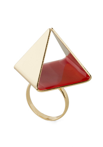 Peer-amid Ring - Gold, Statement, Urban, Red