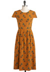 Hold the Gramophone Dress - Long, Yellow, Green, Brown, Print, Vintage Inspired, Fall, Pleats, Cap Sleeves, Cocktail, International Designer