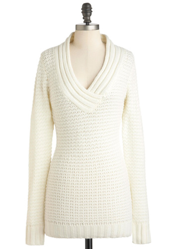 Hold Me Close-Knit Sweater in Ivory - Cream, Solid, Knitted, Casual, Long Sleeve, Long, Fall, Winter, V Neck