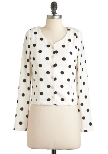 Spotted in the Stacks Cardigan - Cream, Black, Polka Dots, Buttons, Long Sleeve, Short, Vintage Inspired, 80s, Scholastic/Collegiate, Button Down