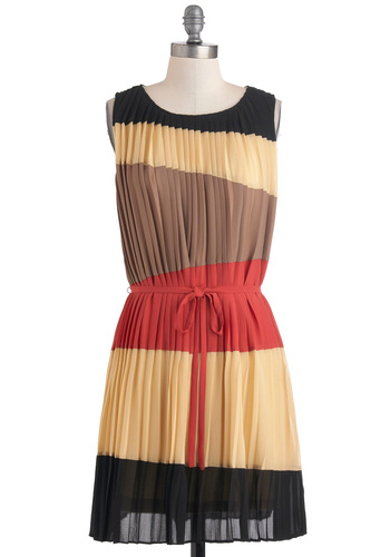 Beauty and the Pleats Dress - Mid-length, Multi, Pink, Brown, Tan / Cream, Black, Pleats, Party, Colorblocking, Shift, Sleeveless, Belted, Sheer