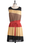 Beauty and the Pleats Dress - Mid-length, Multi, Pink, Brown, Tan / Cream, Black, Pleats, Party, Colorblocking, Sheath / Shift, Sleeveless, Belted, Sheer