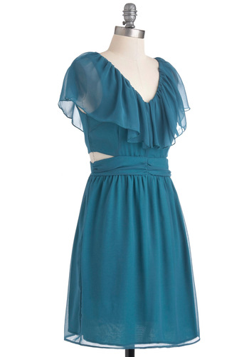 Furbelow Sea Level Dress - Blue, Cutout, Party, A-line, Cap Sleeves, Mid-length, Exposed zipper, V Neck