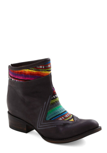Wanderers Never Cease Boot - Low, Brown, Multi, Print, Exposed zipper, Casual, Boho, Folk Art, Rustic, Fall, Leather